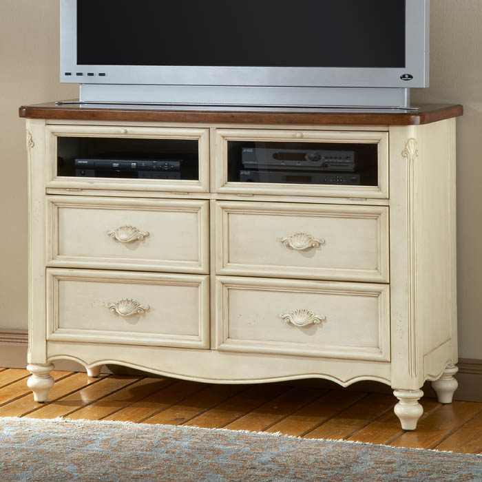 Chateau Antique White Media Stand Dcg Stores