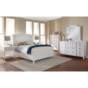 Grand Haven Panel Bed and Night Table - White Lace