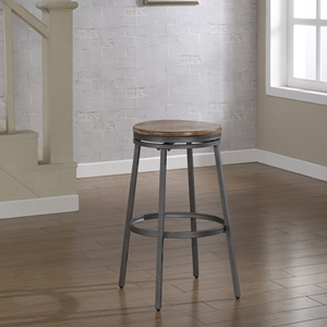 Stockton Backless Bar Stool - Slate Gray Frame, Golden Oak Seat