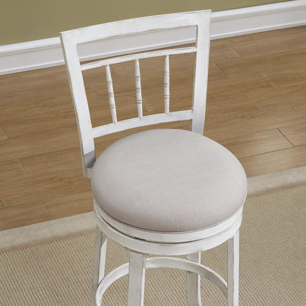 Palazzo Swivel Counter Stool Antique White Woven Fabric Seat Dcg Stores