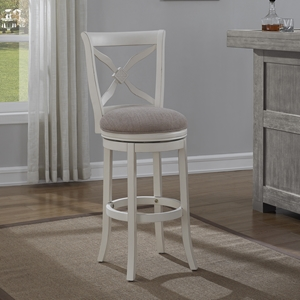 Accera Swivel Bar Stool - Antique White, Light Brown Fabric