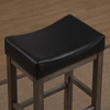 Walker Creek Saddle Seat Counter Stool - Gray Driftwood, Black Bonded Leather - AW-B2-207-26L