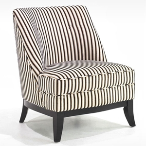 Jester Armless Club Chair - Black and Brown Tuxedo Stripe