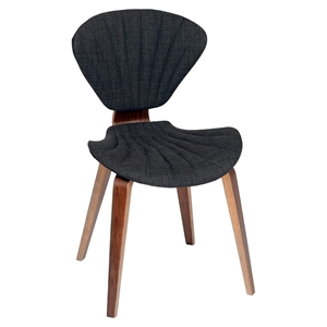 Lisa Modern Chair - Charcoal Fabric, Walnut Wood