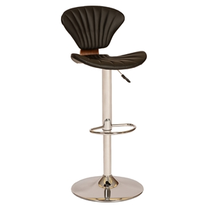 Lisa Modern Swivel Barstool - Black, Chrome Base