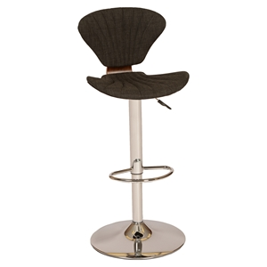 Lisa Modern Swivel Barstool - Charcoal, Chrome Base