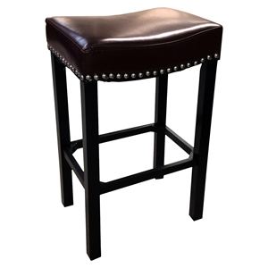 "Tudor 26"" Stationary Barstool - Brown, Backless, Nailhead Accents"