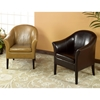 Clementine Leather Club Chair in Brown - AL-LCMC001CLBC
