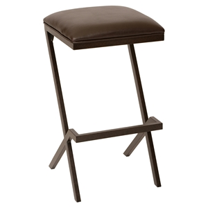 "Sasha 26"" Modern Barstool - Backless, Coffee Seat, Auburn Bay Metal"