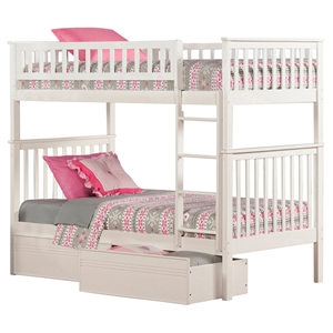 Woodland Twin over Twin Bunk Bed - 2 Flat Panel Bed Drawers