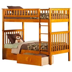 Woodland Twin over Twin Bunk Bed - 2 Urban Bed Drawers