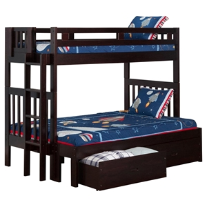 Cascade Twin over Full Bunk Bed - Drawers, Espresso