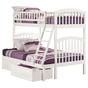 Richland Twin over Full Bunk Bed - 2 Raised Panel Bed Drawers