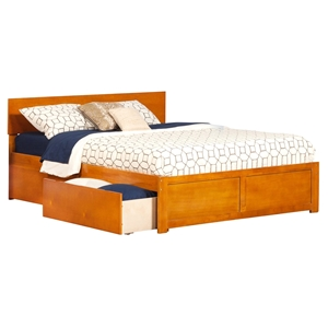 Orlando King Bed - Flat Panel Foot Board, 2 Urban Bed Drawers