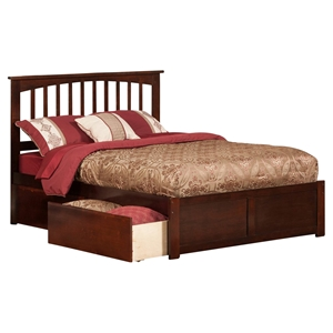 Mission Platform Bed - 2 Urban Bed Drawers, Flat Panel Foot Board