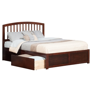 Richmond King Platform Bed - Flat Panel Foot Board, 2 Urban Bed Drawers