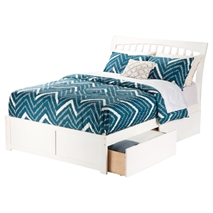 Orleans Wood Bed - Flat Panel Foot Board, 2 Urban Bed Drawers, White