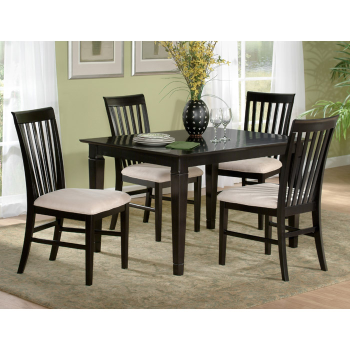 Deco 5 Piece Modern Dining Set W Slat Back Chairs Atl De48x36sdt5pc