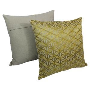 "Diamond Mosaic 20"" Throw Pillows, Gold Embroidery and Natural Fabric (Set of 2)"