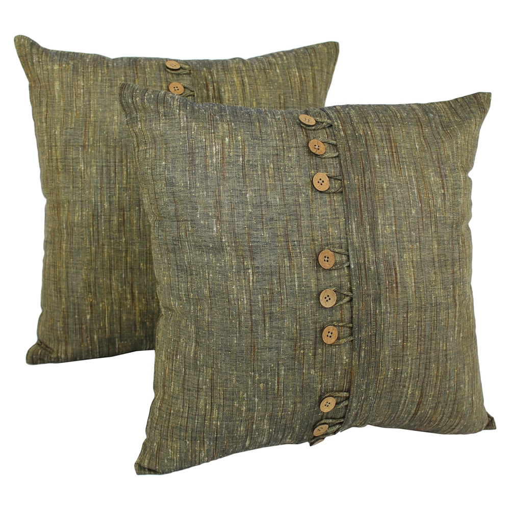 "Game Room Bars: 9-Button 20"" Throw Pillows - Sage (Set Of 2)"