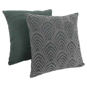 "Arching Fans Beaded 20"" Throw Pillows - Silver Beads and Grey Fabric (Set of 2)"