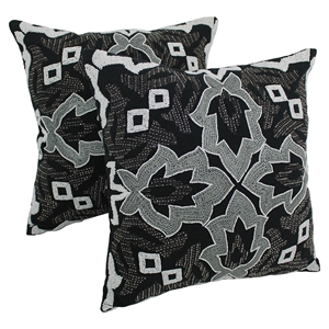 "Symmetrical Floral Beaded 20"" Throw Pillows, White Beads and Black Fabric (Set of 2)"