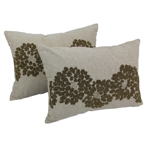 Floral Pattern Beaded Chambrey Throw Pillows - Gold Beads and Natural Fabric (Set of 2)