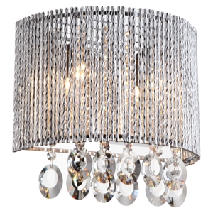 Crystalline 2-Light Wall Sconce - Round, Crystals
