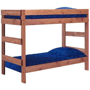 Twin Over Twin Bunk Bed - Mahogany Finish