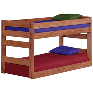 Twin Jr. Bunk Bed - Built-In Ladders, Mahogany Finish