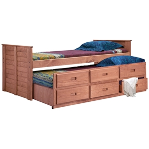 Twin Panel Bed - 3-Drawer Trundle, Mahogany Finish