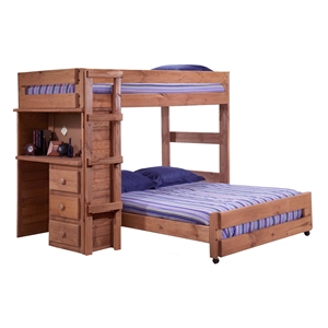 Twin Over Full Loft Bedroom Set - 3-Drawer Desk, Mahogany Finish