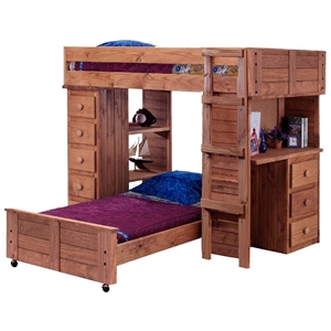 Twin Loft Panel Bedroom Set - Chest, Desk, Mahogany Finish
