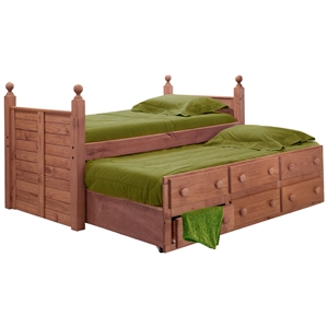 Twin Panel Post Bed - 6 Drawers, Trundle, Mahogany Finish
