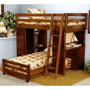 Twin Loft Bedroom Set - Chest, Desk, Ladder, Cocoa Finish