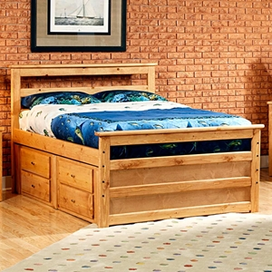 Full Wooden Storage Bed - Horizontal Slats, Caramel Finish