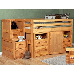 Twin Junior Loft Bedroom Set - Staircase Drawers, Cinnamon