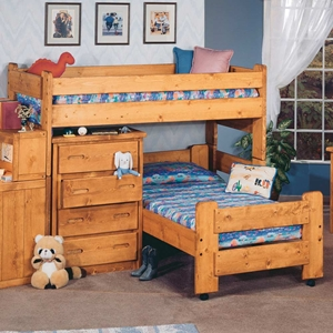 Twin Junior Loft Bedroom Set - Cinnamon Finish