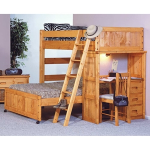 Twin Over Full Loft Bedroom Set - Desk, Ladder, Cinnamon
