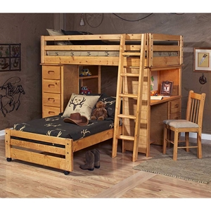 Twin Loft Bedroom Set - Chest, Desk, Ladder, Cinnamon Finish