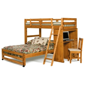 Twin Over Full Loft Bedroom Set - Desk, Ladder, Honey Finish