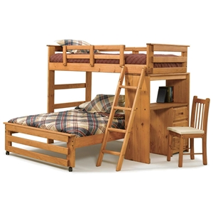 Twin Over Full Student Loft Bedroom Set - Desk, Honey