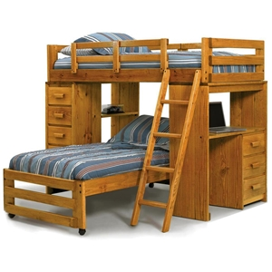 Twin Loft Bedroom Set - Chest, Desk, Ladder, Honey Finish