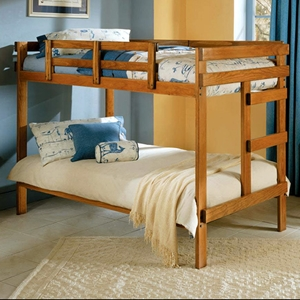 Twin Bunk Bed - Ladder, Honey Finish