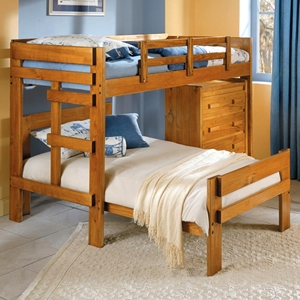 Twin Loft Bedroom Set - 4-Drawer Chest, Honey Finish