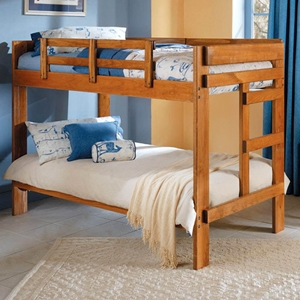 Twin Bunk Bed - Wide Slats, Ladder, Honey Finish