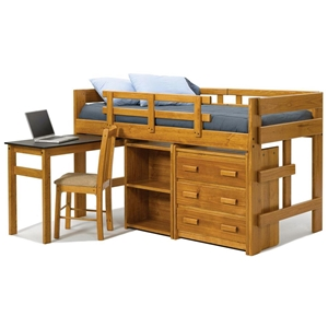 Twin Mini Loft Bedroom Set - Desk, Bookcase, Chest, Honey