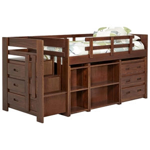 Twin Mini Loft Staircase Bedroom Set - Dark Brown Finish