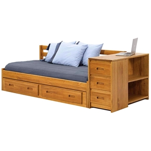 Wooden Storage Daybed - Under Bed Drawers, Honey Finish