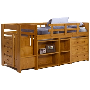 Twin Mini Loft Staircase Bedroom Set - Honey Finish